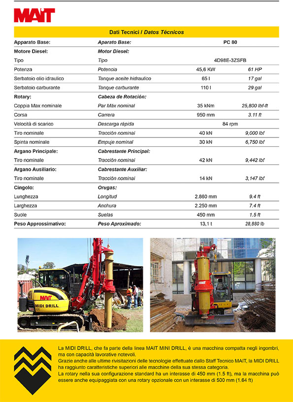 Noleggio MAIT Midi Drill macchina compatta per fondazioni speciali su escavatore Komatsu
